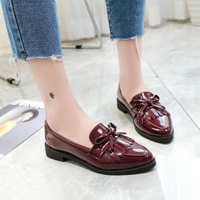 Dropshipping Gtime Flat Shoes Women Casual Tassel Bow Pointed Toe Oxford Shoes for Woman Flats Comfortable Slip on Shoes ZSTM43