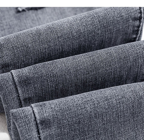 Image of 2019 Jeans Female Denim Pants hole korean fashion buttom womans pencil pants gray denim elastic trousers for ladies Donna