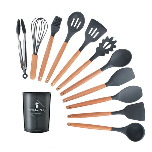 9/10/12PCS Silicone Cooking Utensils Set Non-stick Spatula Shovel Wooden Handle Cooking Tools Set With Storage Box Kitchen Tools