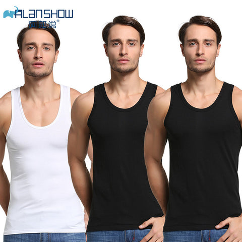 Image of 3Pcs/Lot Summer Men Cotton Underwear Mens Undershirt Transparent Shirts Male Bodyshaper Fitness Wrestling Singlets