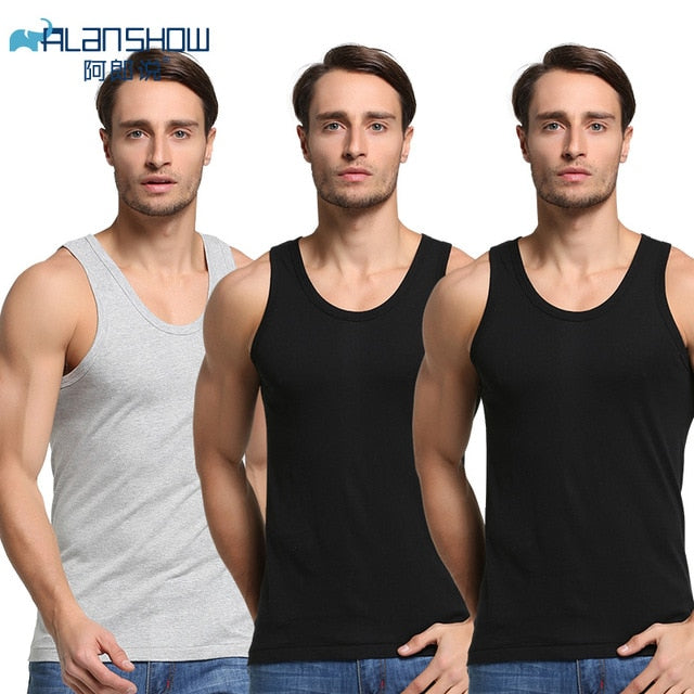 3Pcs/Lot Summer Men Cotton Underwear Mens Undershirt Transparent Shirts Male Bodyshaper Fitness Wrestling Singlets