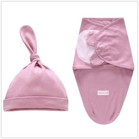 Image of Baby Swaddle Blanket + Cap Newborn Cocoon Wrap Cotton Swaddling Bag Baby Envelope Sleep sack Bedding