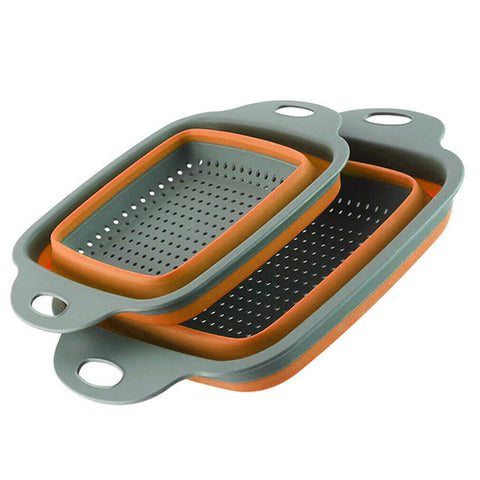 Image of 2pcs/set Foldable Silicone Colander Collapsible Washing Basket Draining Strainer Basket With Handle Kichen AccessoriesTools