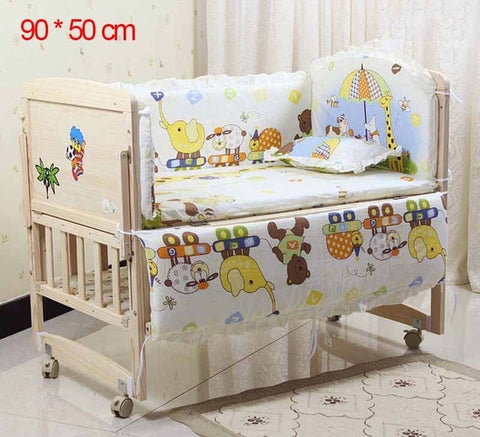 Image of 5Pcs/Set Cartoon Animated Crib Bed Bumper For Newborns 100%Cotton Comfortable Children's Bed Protector Baby Washable Bedding Set