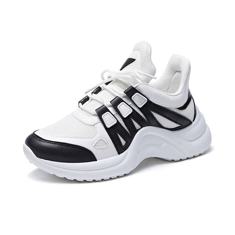 Image of Fashion Platform Sneakers Breathable Mesh Chunky Sneakers for Women Basket Femme Lace-Up Casual Shoes Women Vulcanize Shoes