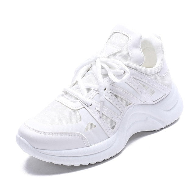 Fashion Platform Sneakers Breathable Mesh Chunky Sneakers for Women Basket Femme Lace-Up Casual Shoes Women Vulcanize Shoes