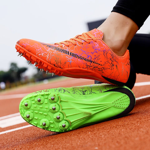 Image of Spike Shoes Track and Field Men Women Training Athletic Shoes Professional Running Track Race Jumping Soft Shoes Sneakers 35-45