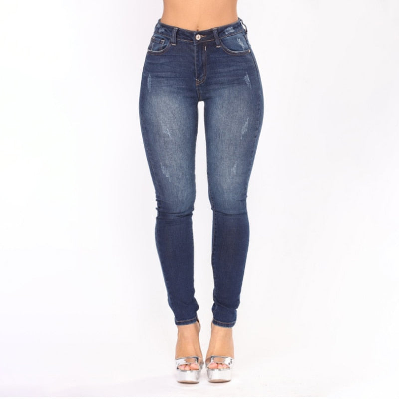 Plus Size Fashion Jeans Women Pencil Pants High Waist Jeans Sexy Slim Elastic Skinny Pants Trousers Fit Lady Jeans  2019 New