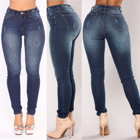 Image of Plus Size Fashion Jeans Women Pencil Pants High Waist Jeans Sexy Slim Elastic Skinny Pants Trousers Fit Lady Jeans  2019 New