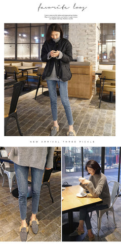 Image of 2019 Women Winter Jeans Thick Warm High Waist Jeans Large Size Slim Casual Jeans Pencil Pants 5xl Women Plus Size