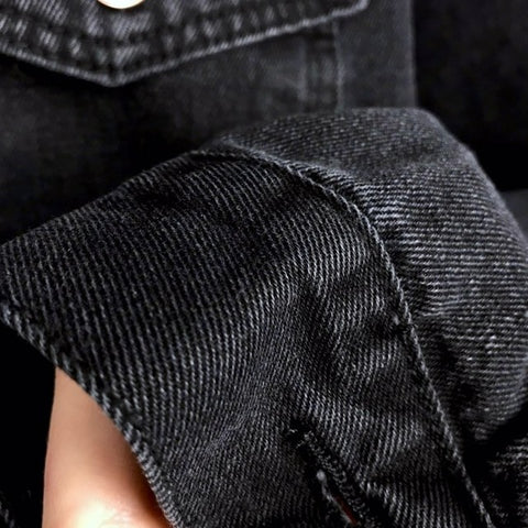 Image of Semfri Women's Black Denim Jacket Autumn Winter Coat Black Jeans Jacket Casual Harajuku Streetwear Women Korean Clothes 2019