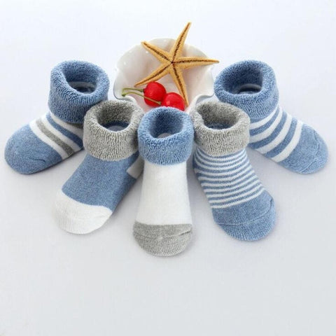 Image of 5 Pair/lot new cotton thick baby toddler socks autumn and winter warm baby foot sock