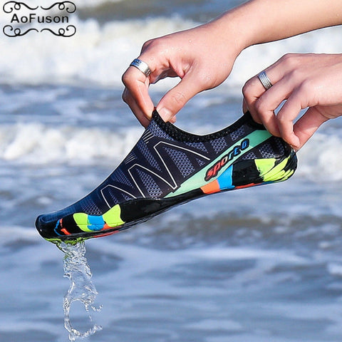 Image of Unisex Water Aqua Shoes Summer Swim Beach Shoes Seaside Surf Quick-Drying Slippers Upstream Light Athletic Footwear Hiking Shoes