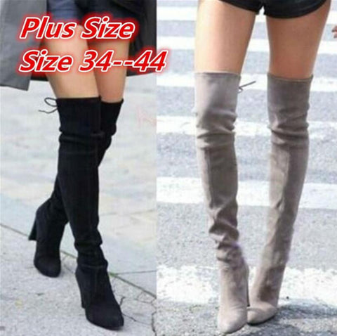 2019 New Faux Suede Slim Boots Sexy Over The Knee High Women Fashion Winter Thigh High Boots Shoes Woman Fashion Botas Mujer
