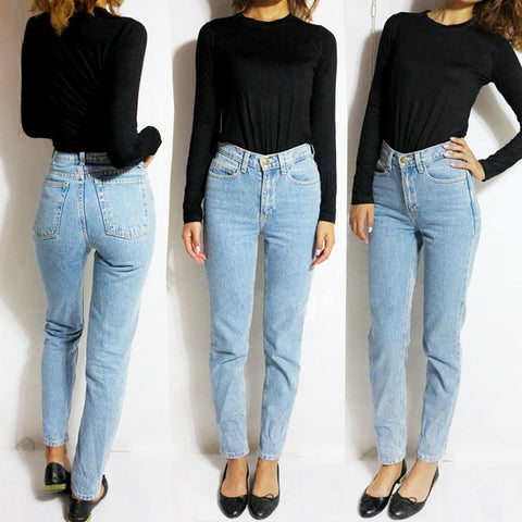 Image of 2019 Vintage Black Boyfriend Jeans For Women High Waist Denim Jeans Vintage Slim Mom Pencil Jeans Woman Denim Pants