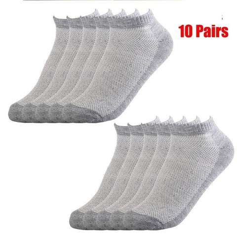 Image of 20Pcs=10Pair Solid Mesh Men's Socks Invisible Ankle Socks Men Summer Breathable Thin Male Boat Socks HOT SALE 2019