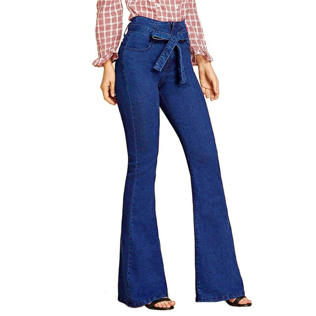 2019 Ladies Denim High Waist Flare Jeans Boyfriend Jeans For Women Skinny Womans Pants Female Wide Leg Mom Jeans Large Sizes XXL