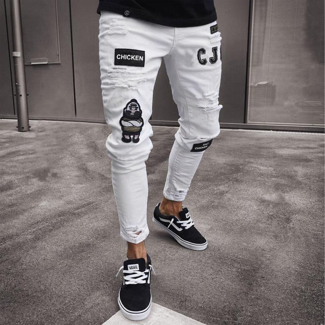 New Skinny Jeans men Streetwear Destroyed Ripped Jeans Homme Hip Hop Broken modis male Pencil Biker Embroidery Patch Pants