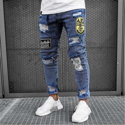 Image of New Skinny Jeans men Streetwear Destroyed Ripped Jeans Homme Hip Hop Broken modis male Pencil Biker Embroidery Patch Pants