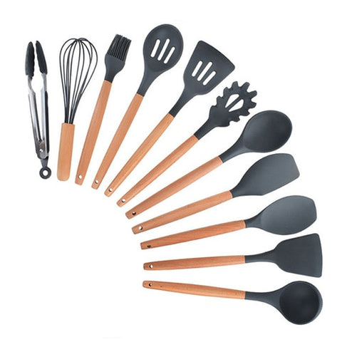 Image of 12PCS Silicone Kitchenware Cooking Utensils Set Heat Resistant Kitchen Non-Stick Cooking Utensils Baking Tools With Storage Box
