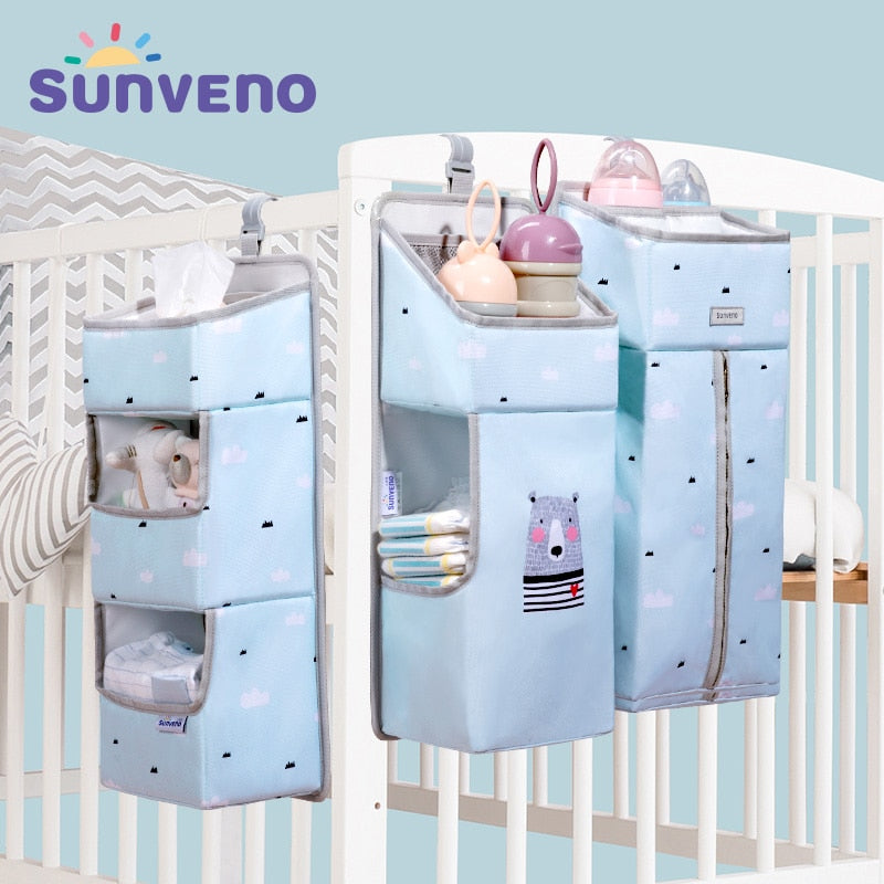 SUNVENO Portable Baby Crib Organizer Bed Hanging Bag for Baby Essentials Diaper Storage Cradle Bag Bedding Set Diaper Caddy