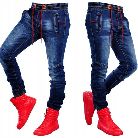 Image of 2019 Fashion Mens Jeans Patchwork Trousers with Holes Male Denim Pencil Jeans Zipper Pants Clothing Clothes