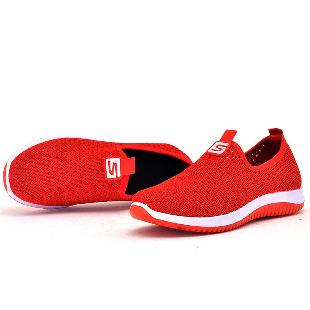 Women Flat Plus Size Breathable Mesh Sneakers Summer Slip On Platform Knitting Flats Soft  Fashion 2019  Red  Walking Shoes