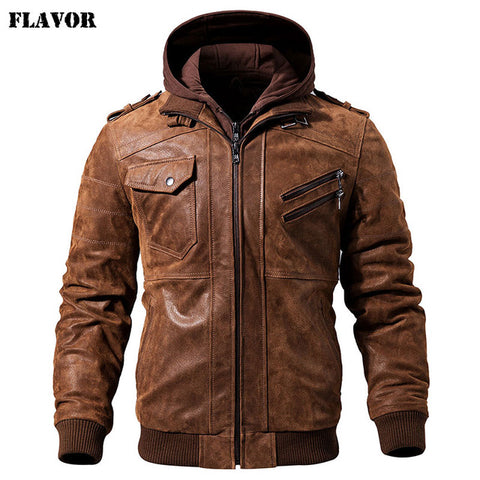 Image of Men's Real Leather Jacket Men Motorcycle Removable Hood winter coat Men Warm Genuine Leather Jackets
