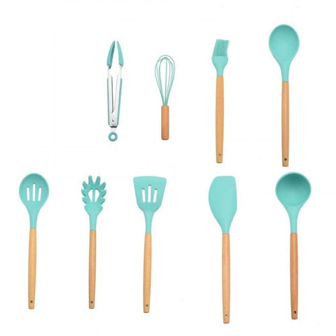 Image of 9/10/12PCS Silicone Cooking Utensils Set Non-stick Spatula Shovel Wooden Handle Cooking Tools Set With Storage Box Kitchen Tools