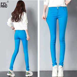Womens 20 colored skinny jeans plus size street fashion Sexy low rise waist denim trousers women ladies blue pencil jeans pants