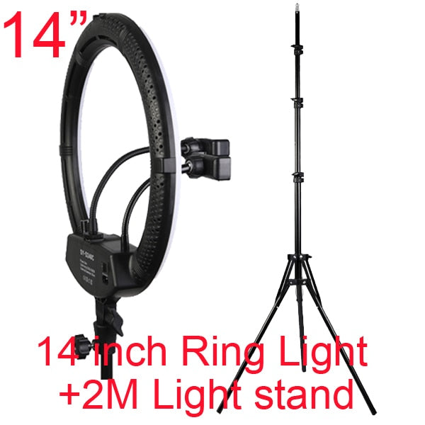"Photo Studio 14"" 18"" 20"" Ring Light 3200-5600K Stepless adjusted Warm& Cold Lighting Photographic Selfie Light with Phone Holder"