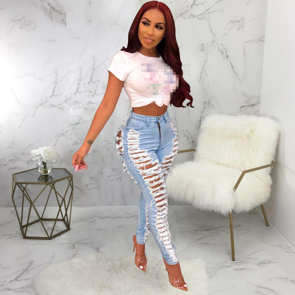Wjustforu Sexy Ripped Jeans For Women Fashion Casual Club Hole Denim Pants Femme Bodycon Hollow Out Pencil Long Jeans Vestidos