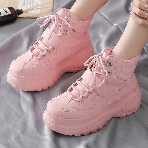 Women's Chunky Sneakers 2019 Fashion Women Platform Shoes Lace Up Pink Vulcanize Shoes Womens Female Trainers Dad Shoes