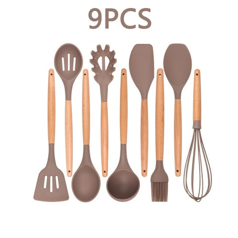 12PCS Silicone Kitchenware Cooking Utensils Set Heat Resistant Kitchen Non-Stick Cooking Utensils Baking Tools With Storage Box