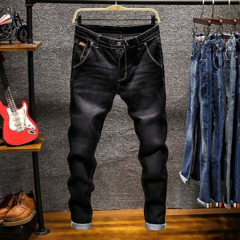 Image of Spring Autumn  Men's Elastic Cotton Stretch Jeans Pants Loose Fit Denim Trousers Men's Brand Fashion Wear and washed jean pants