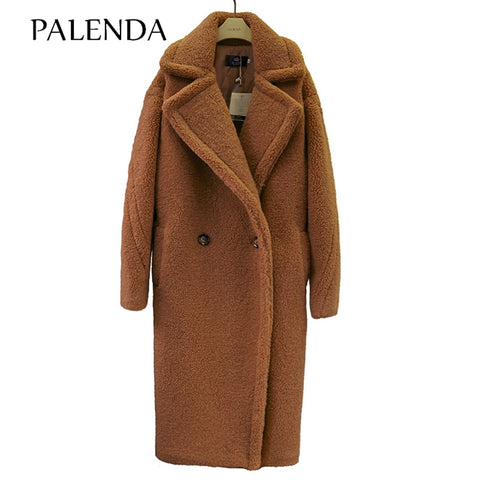 Image of 2019 new teddy coat faux fur long coat women lamb fur coat 10 color thick coat