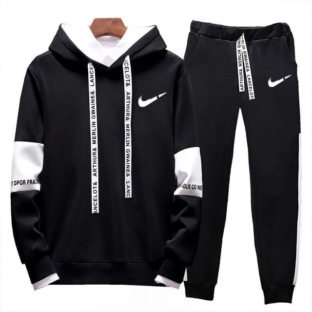 Brand Clothing Men's Casual Sweatshirts Pullover Cotton Men Tracksuit Hoodies Two Piece +pants Sport Shirts Autumn Winter Set