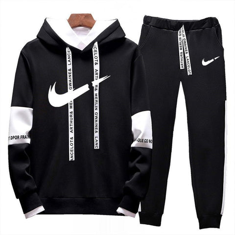 Image of Brand Clothing Men's Casual Sweatshirts Pullover Cotton Men Tracksuit Hoodies Two Piece +pants Sport Shirts Autumn Winter Set
