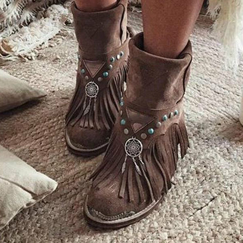 Image of women ankle boots chunky low heels ladies chaussure  gladiator tassels shoes woman zapatos mujer sapato w10