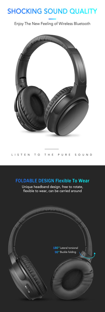 Noise Cancelling Headphones Wireless Bluetooth Over the Ear Headphones with Mic Passive Noise Cancellation HiFi Stereo Headset