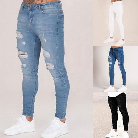 Image of Oeak Mens Solid Color  Jeans 2019 New Fashion Slim  Pencil Pants Sexy Casual Hole Ripped Design Streetwear