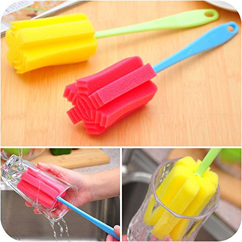 Image of 2 PCS kichen Cleaning Tool Bottle Coffe Tea Glass Cup Mug Sponge Cleaning Washing Brush (Random Color)