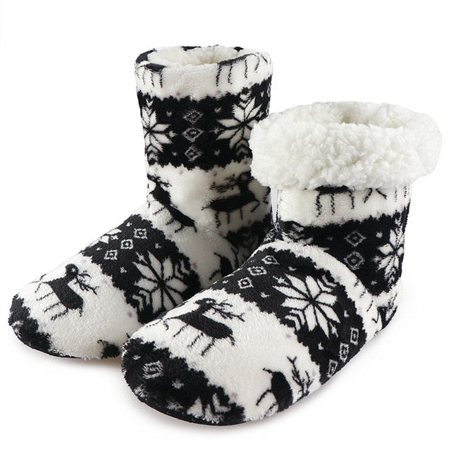 Winter Fur Slippers Women Warm House Slippers Plush Flip Flops Christmas Cotton Indoor Home Shoes Floor Shoes Claquette Fourrure