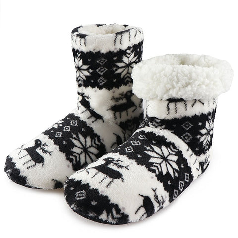 Image of Winter Fur Slippers Women Warm House Slippers Plush Flip Flops Christmas Cotton Indoor Home Shoes Floor Shoes Claquette Fourrure