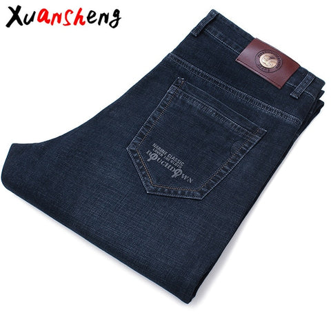 Image of Xuansheng brand  men's jeans 2019 autumn and winter thick business work casual stretch slim jeans classic pants blue black jeans