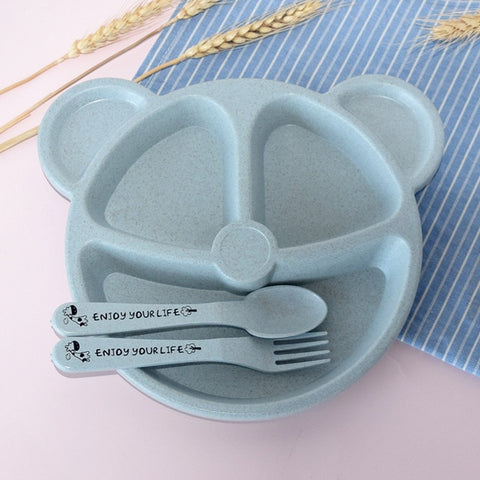 3Pcs/Set Baby bowl+spoon+fork Feeding Food Tableware Cartoon Bear Kids Dishes Eating Dinnerware Anti-hot Training Dinner Plate
