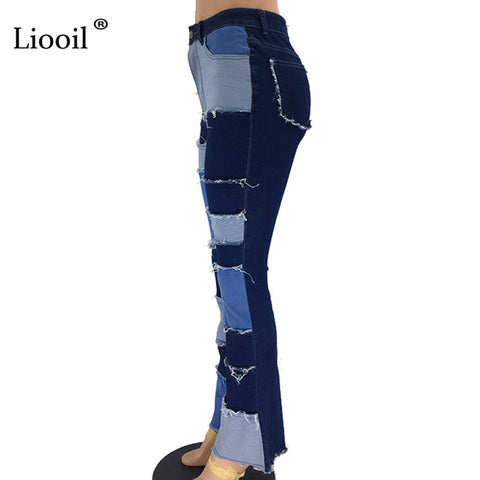 Image of Liooil Color Block High Waist Flare Jeans With Pockets 2019 Streetwear Sexy Ladies Trousers Bell Bottoms Skinny Denim Jean Pants