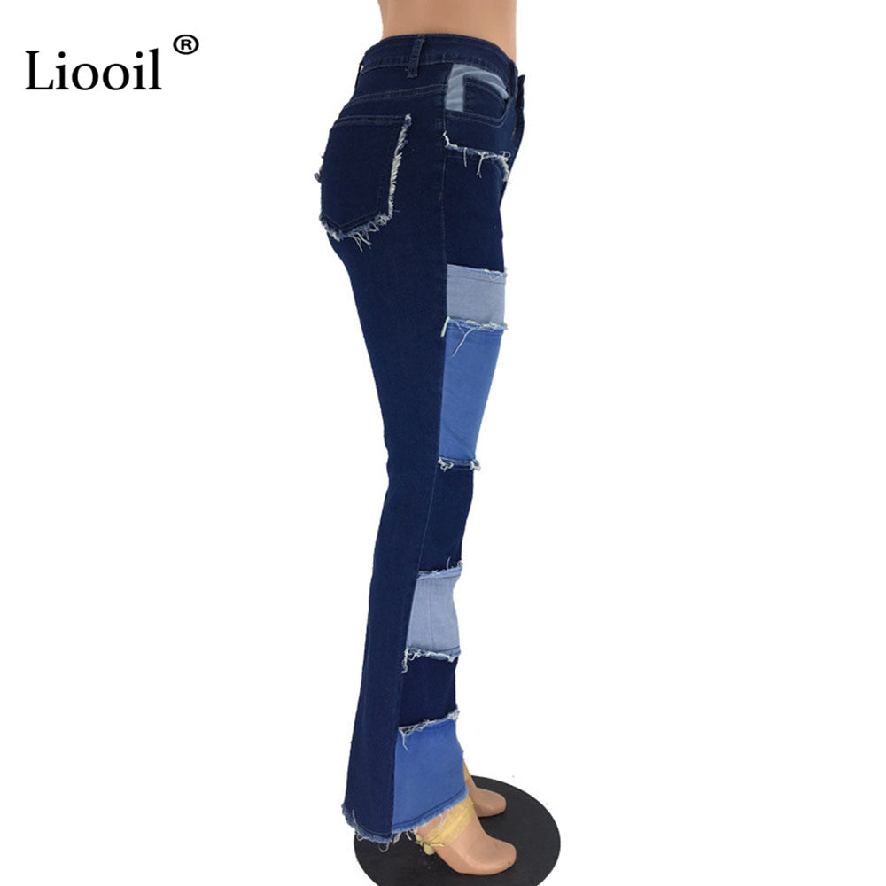Liooil Color Block High Waist Flare Jeans With Pockets 2019 Streetwear Sexy Ladies Trousers Bell Bottoms Skinny Denim Jean Pants