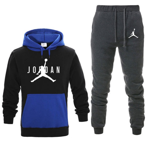 Image of New Men Hoodies Suit Fleece Warm Jordan 23 Tracksuit Men Sweatshirt Suit Hoodie+Sweat pants Jogging Homme Hooded Tracksuit 3XL
