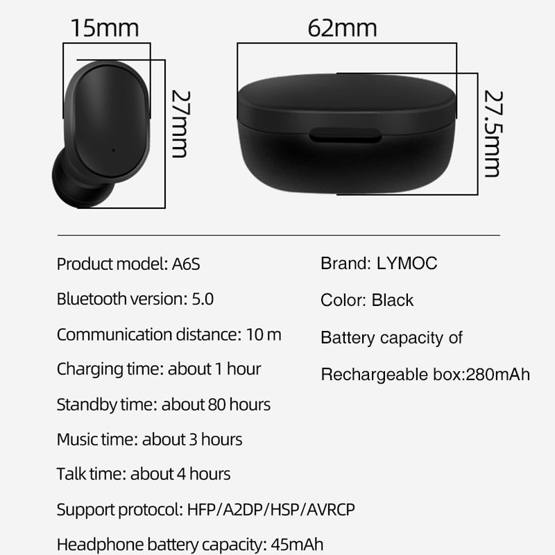 Original A6S Bluetooth Headsets For Redmi Airdots Wireless Earbuds 5.0 TWS Earphone Noise Cancelling Mic for iPhone Android